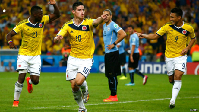 Video Colombia 2-0 Uruguay: James Rodriguez lập siêu phẩm